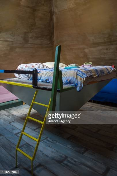 A pyramid shaped bed is seen at the Hotel Galeria an avantgarde architectural hotel in Bratislava Slovakia on February 10 2018 Hotel Galeria is an...