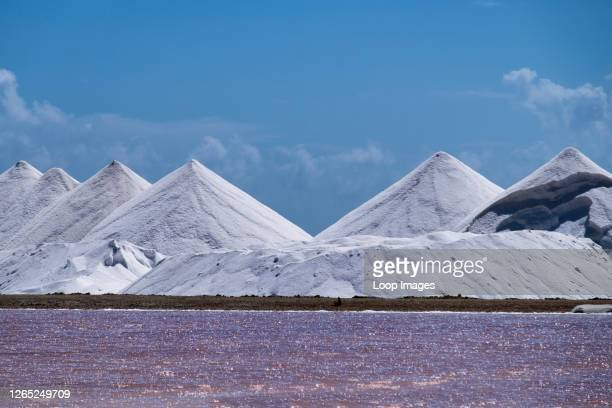 Pyramid shaped salt mounds in Bonaire.