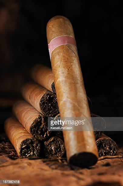 A pyramid stack of Cuban cigars