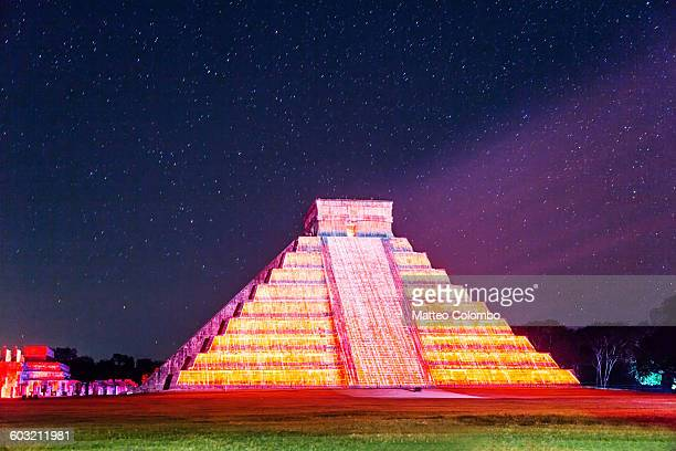 Pyramid under a starry sky, Chichen Itza, Mexico