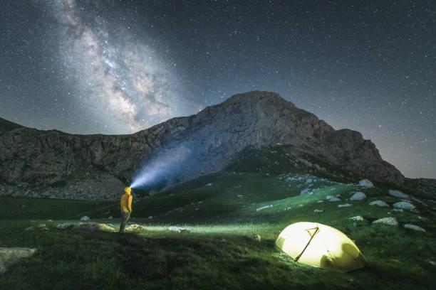 Pyramida peak during the night