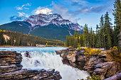 Pyramidal mountain and waterfall Athabasca