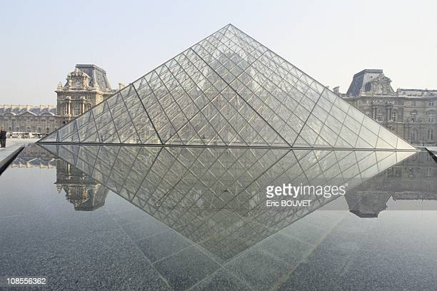 'Pyramide du Louvre' of the architect Ieoh Ming Pei in Paris France on March 29th 1989