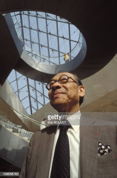 Pyramide du Louvre of the architect Ieoh Ming Pei in Paris France on March 29th 1989