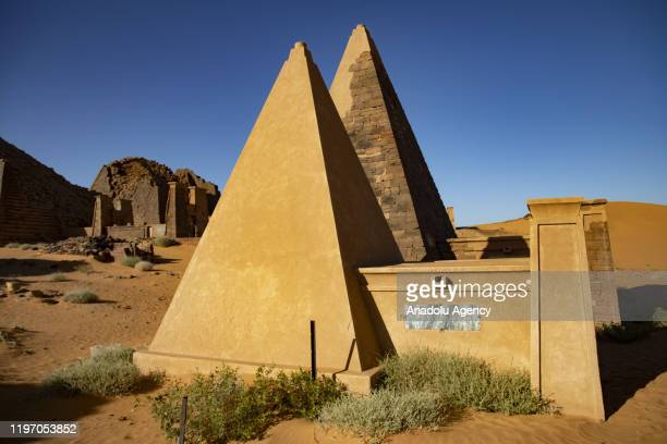 Pyramids are seen at desert in Khartoum Sudan on January 28 2020 The 2000yearold Meroe pyramids under the protection of the United Nations...