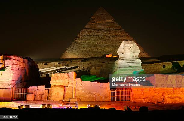 Pyramids of Giza in Cairo, Egypt at night