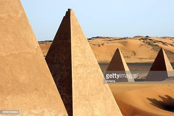 Pyramids of Meroe / Begarawiyah in the Nubian desert of Sudan North Africa
