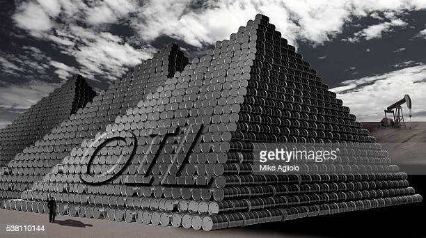 pyramids of oil drums - mike agliolo stock pictures, royalty-free photos & images