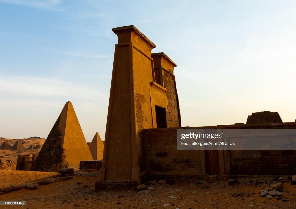 Pyramids of the kushite rulers at Meroe, Northern State, Meroe, Sudan... : News Photo