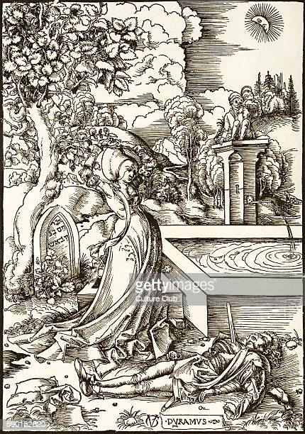Pyramus and Thisbe woodcut by Urs Graf c 15067 Story taken from Ovid 's Metamorphoses Thisbe stands under the mulberry tree contemplating the figure...
