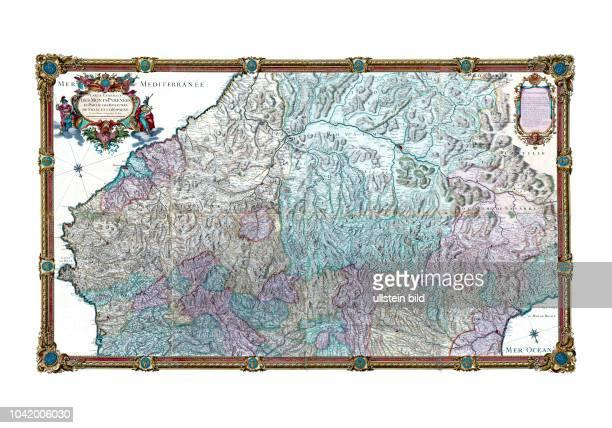 Pyrenees 1730 Ansicht von Norden Carte generale des Monts Pyrenées et partie des royaumes de France et d'Espagne Von P Roussel Paris 1730