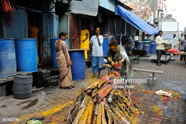 Pyres for yellama festival in Kamathipura, Bombay Mumbai, Maharashtra, India
