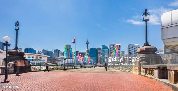 Pyrmont Bridge and Sydney CBD skyline