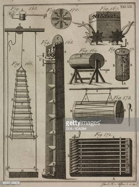 Pyrotechnic theatre fireworks and machines copperplate engraving by Gaetano M Alfano from Istituzioni di Pirotecnica per istruzione di coloro che...