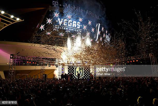 Pyrotechnics and streamers are fired into the air as the Vegas Golden Knights is announced as the name for the Las Vegas NHL franchise at T-Mobile...