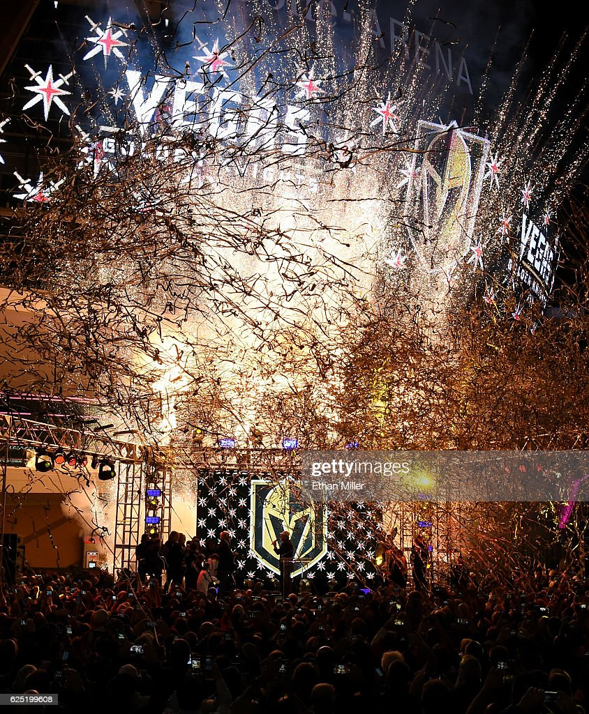 Pyrotechnics and streamers are fired into the air as the Vegas Golden Knights is announced as the name for the Las Vegas NHL franchise at T-Mobile Arena on November 22, 2016 in Las Vegas, Nevada. The team will begin play in the 2017-18 season.