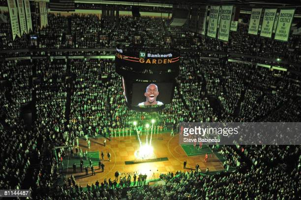 Pyrotechnics are displayed before Game Seven of the Eastern Conference Semifinals during the 2008 NBA Playoffs at TD Banknorth Garden on May 18 2008...