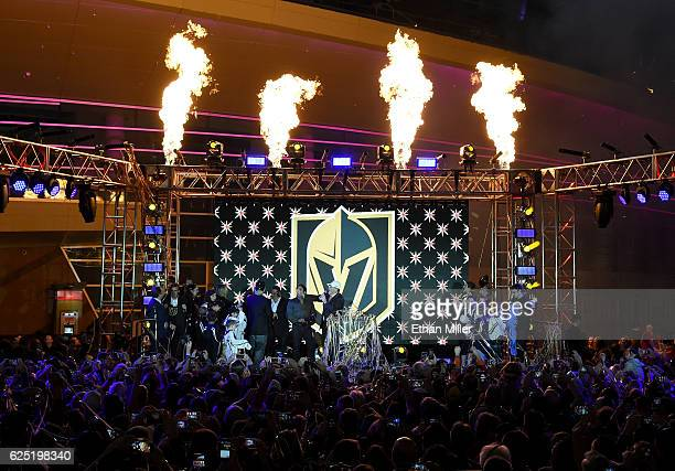 Pyrotechnics are fired into the air as the Vegas Golden Knights is announced as the name for the Las Vegas NHL franchise at TMobile Arena on November...