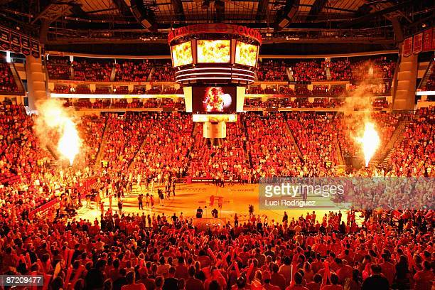 Pyrotechnics are launched prior to Game Four of the Western Conference Semifinals between the Los Angeles Lakers and the Houston Rockets during the...