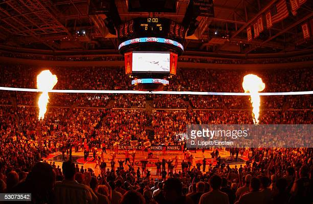 Pyrotechnics excites the fans prior to Game three of the Eastern Conference Finals between the Miami Heat and the Detroit Pistons at the Palace of...