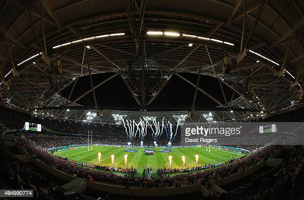 Pyrotechnics explode as the teams lead out prior to the 2015 Rugby World Cup Bronze Final match between South Africa and Argentina at the Olympic...