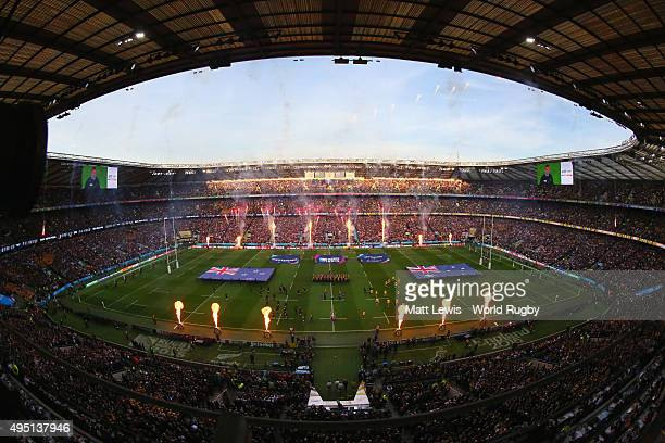 Pyrotechnics explode prior to the 2015 Rugby World Cup Final match between New Zealand and Australia at Twickenham Stadium on October 31 2015 in...