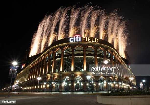 Pyrotechnics light up the night sky above Citi Field after the game between the Miami Marlins and New York Mets on April 8 2017 in the Flushing...