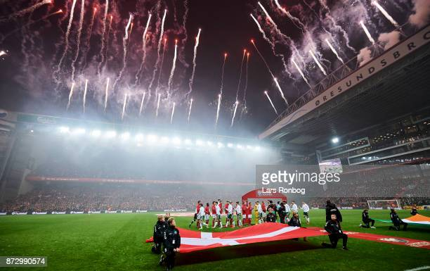 Pyrotechnics prior to the FIFA 2018 World Cup Qualifier PlayOff First Leg match between Denmark and Republic of Ireland at Telia Parken Stadium on...