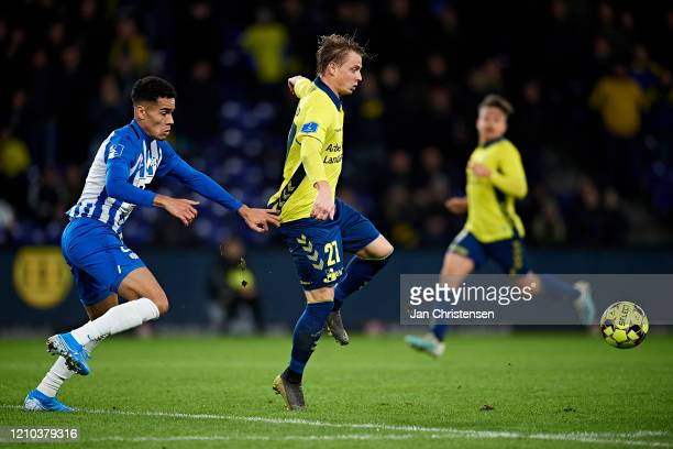 Pyry Soiri of Esbjerg fB and Simon Hedlund of Brondby IF compete for the ball during the Danish 3F Superliga match between Brondby IF and Esbjerg fB...