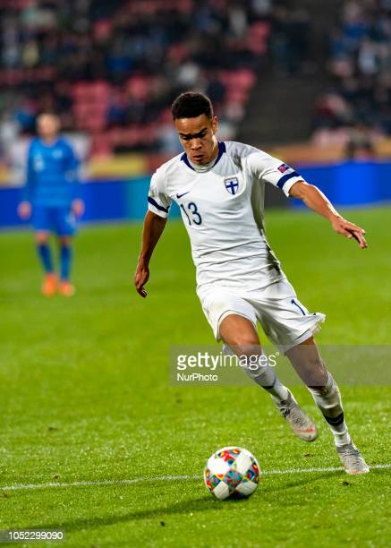 Pyry Soiri of Finland controls the ball during the UEFA Nations League group stage football match Finland v Grece in Tampere Finland on October 15...