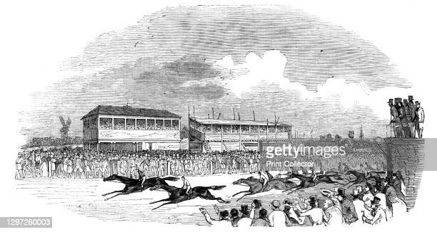 """Pytchley Hunt Races, the Great Northamptonshire Stakes, 1844. Horseracing scene. From """"Illustrated London News"""" Vol I. Artist Unknown."""