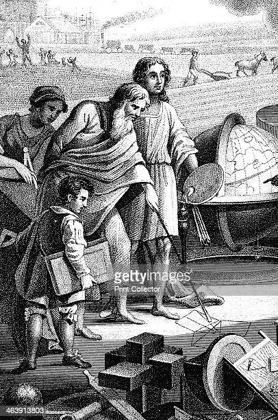 Pythagoras Ancient Greek mathematician and philosopher 6th century BC Pythagoras shown drawing his theorem on rightangled triangles in the sand using...