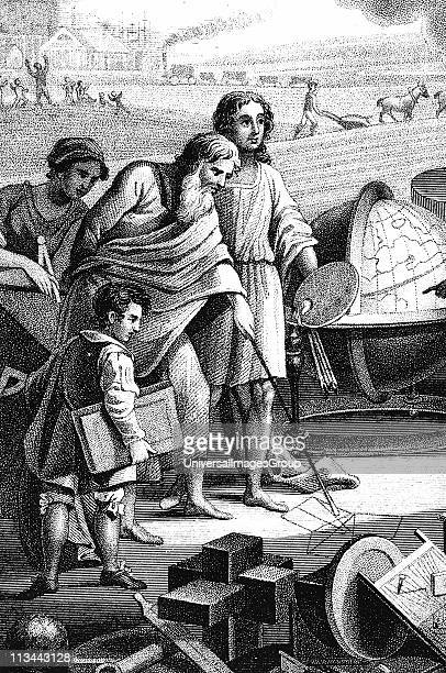 Pythagoras Ancient Greek mathematician and philosopher shown drawing in sand his theorem on rightangled triangle Stipple engraving 1833
