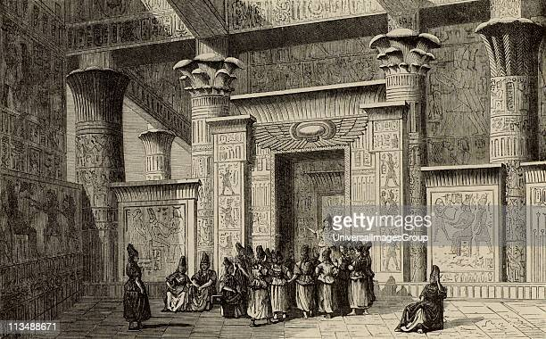 Pythagoras Ancient Greek Philosopher and mathematician with the Egyptian priests Engraving fromVies des Savants Illustres by Louis Figuier