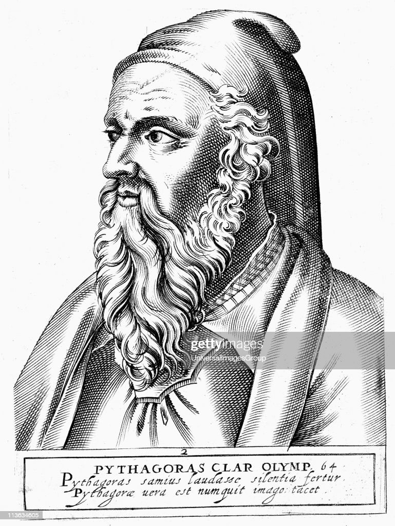 Pythagoras (c560-c480 BC) Ancient Greek philosopher and scientist. Engraving. : News Photo
