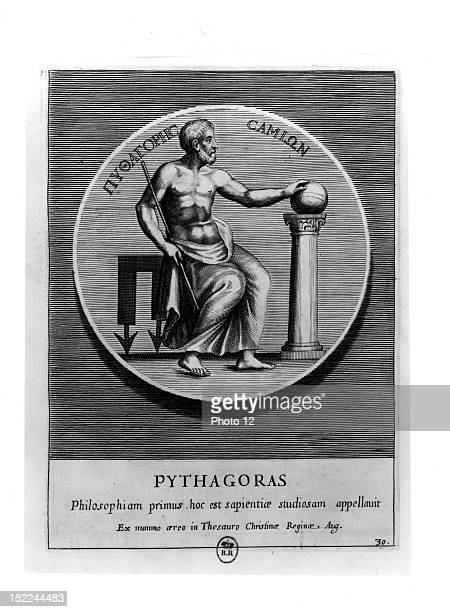 Pythagoras Greek philosopher and mathematician /in 'Veterum illustrations philosopharum' GreeceParis Bibliotheque Nationale