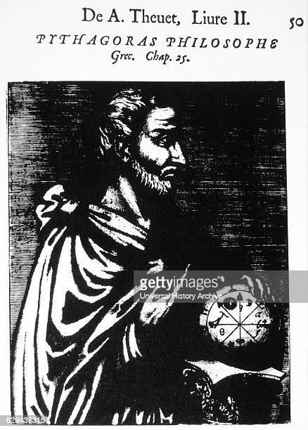 Pythagoras Greek Philosopher Woodcut from 'Les Vrais Pourtraits et vies des Hommes Illustres' Andre Thevet 1584