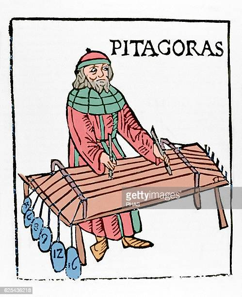 Pythagoras of Samos Ionic Greek philosopher and mathematician Engraving by Theo Gafurius 1492 Milan Italy Colored