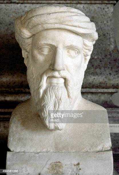 Pythagoras of Samos Ionic Greek philosopher mathematician and founder of the religious movement called Pythagoreanism Bust Roman copy 1st and 2nd...
