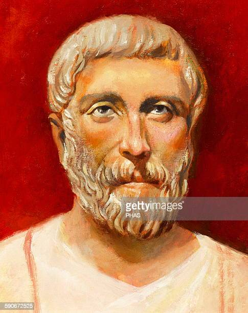 Pythagoras of Samos Ionic Greek philosopher mathematician and founder of the religious movement called Pythagoreanism Portrait Watercolor