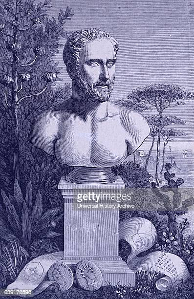 Pythagoras Philosopher and mathematician Engraving after antique bust in Naples Museum