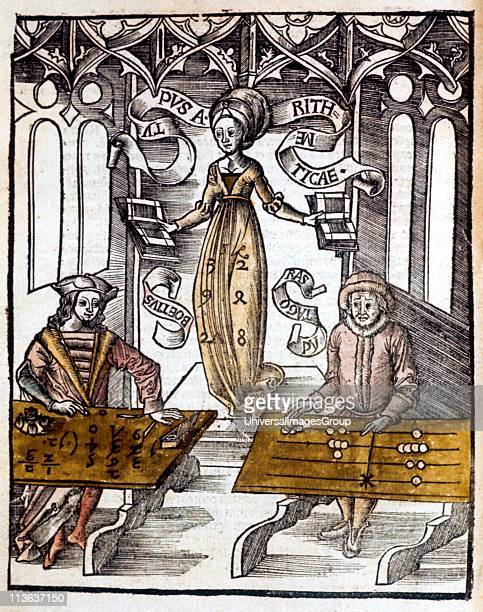 Pythagoras right using counting table competes against Boethius using algorithms for speed at calculation Behind them hovers the figure of Arithmetic...