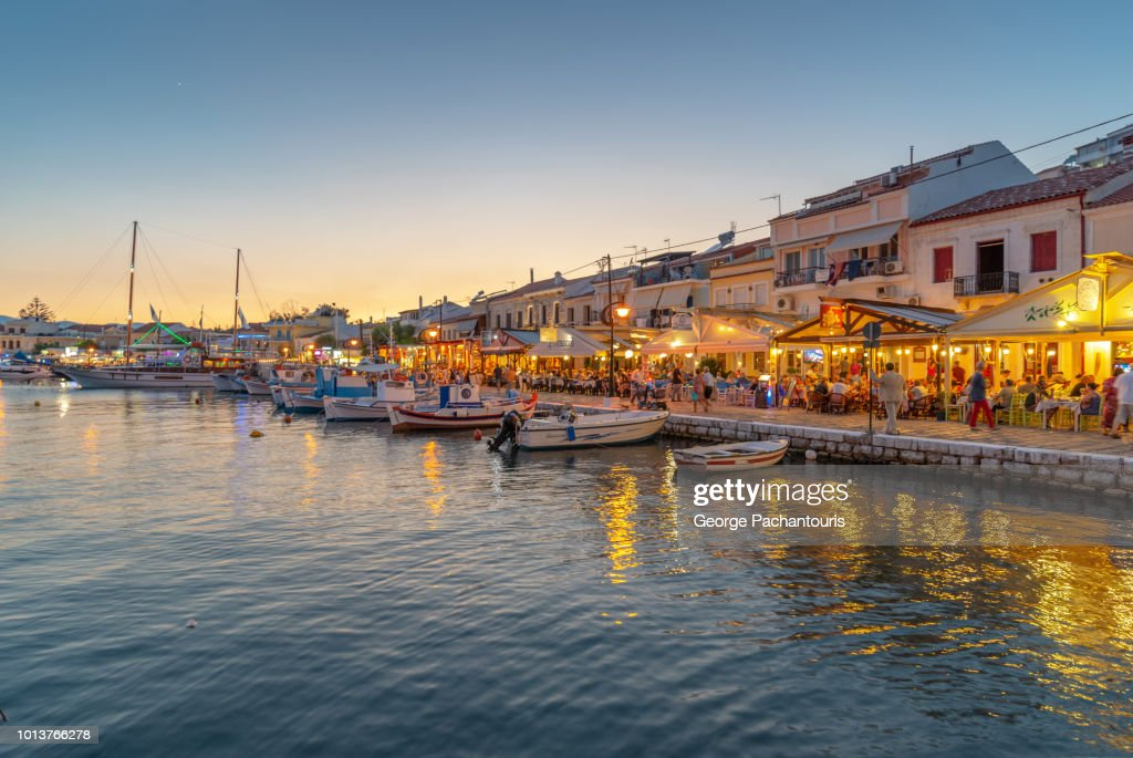 Pythagoreion in Samos, Greece at night : Stock Photo