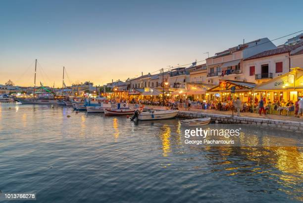 pythagoreion in samos, greece at night - samos stock photos and pictures