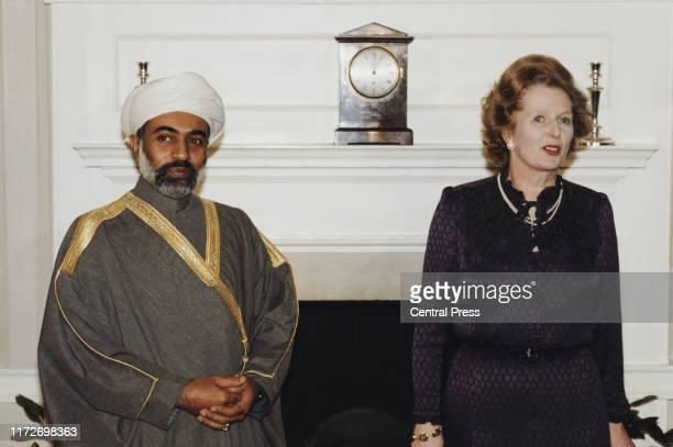 Qaboos bin Said al Said, the Sultan of Oman, with British Prime Minister Margaret Thatcher at 10 Downing Street, London, during his State Visit to...