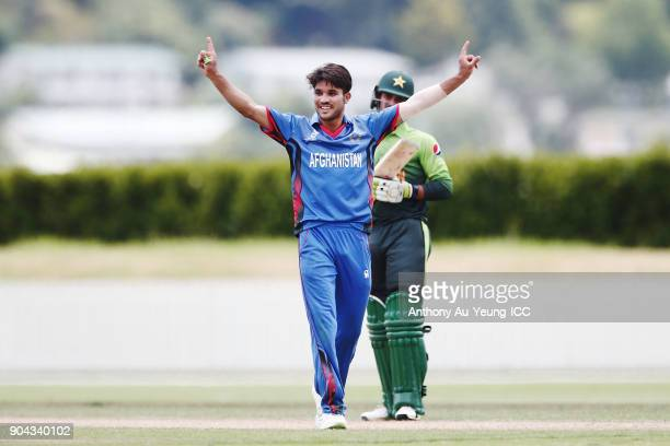Qais Ahmad of Afghanistan celebrates the wicket of Shaheen Afridi of Pakistan during the ICC U19 Cricket World Cup match between Pakistan and...