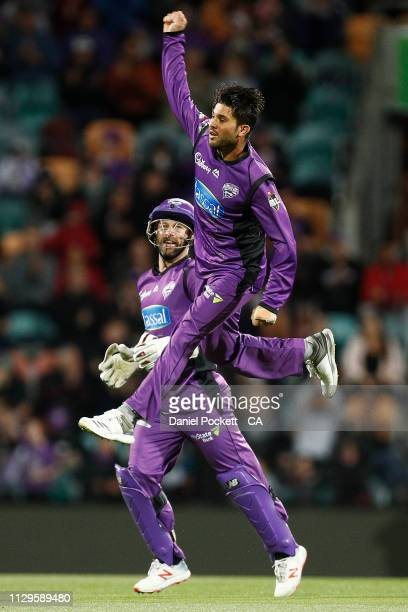 Qais Ahmad of the Hurricanes celebrates after dismissing Marcus Stoinis of the Stars during the Big Bash League semi final match between the Hobart...
