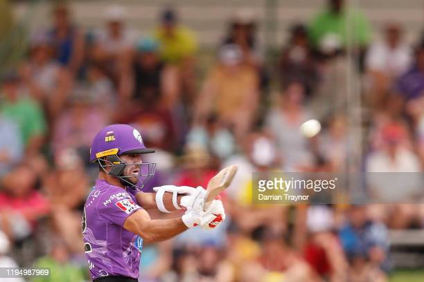 Qais Ahmand of the Hurricanes bats during the Big Bash League match between the Hobart Hurricanes and the Sydney Sixers at Traeger Park on December...