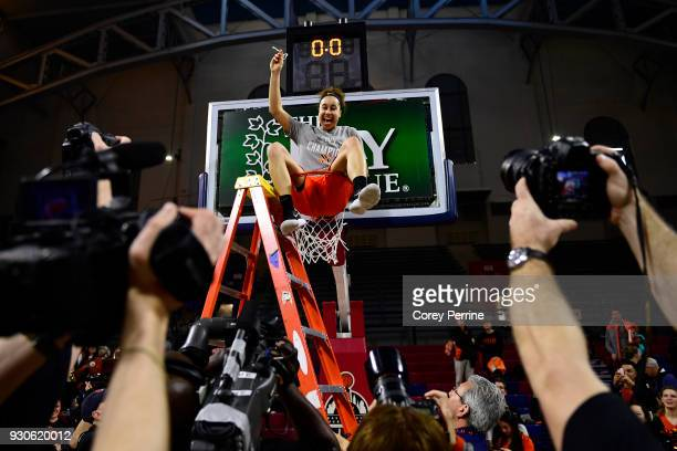 Qalea Ismail of the Princeton Tigers sits in the cylinder after winning the Women's Ivy League Tournament Championship with her team at The Palestra...