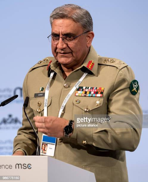 Qamar Javed Bajwa Chief of Pakistan Army Staff delivers a speech at the 54th Munich Security Conference in Munich Germany 16 February 2018 More than...
